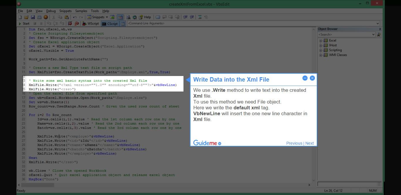 Step 7  Create the Xml file