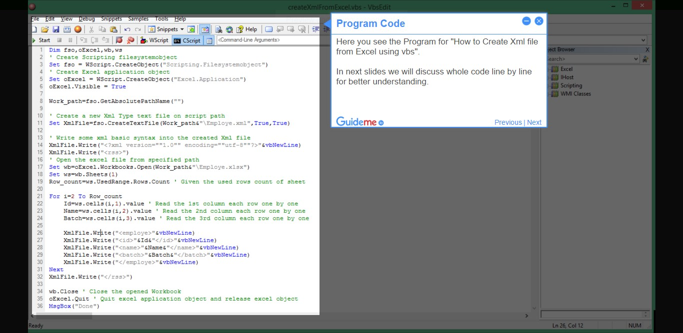 How to Create Xml file from Excel using vbs – Learn VBScript Step ...