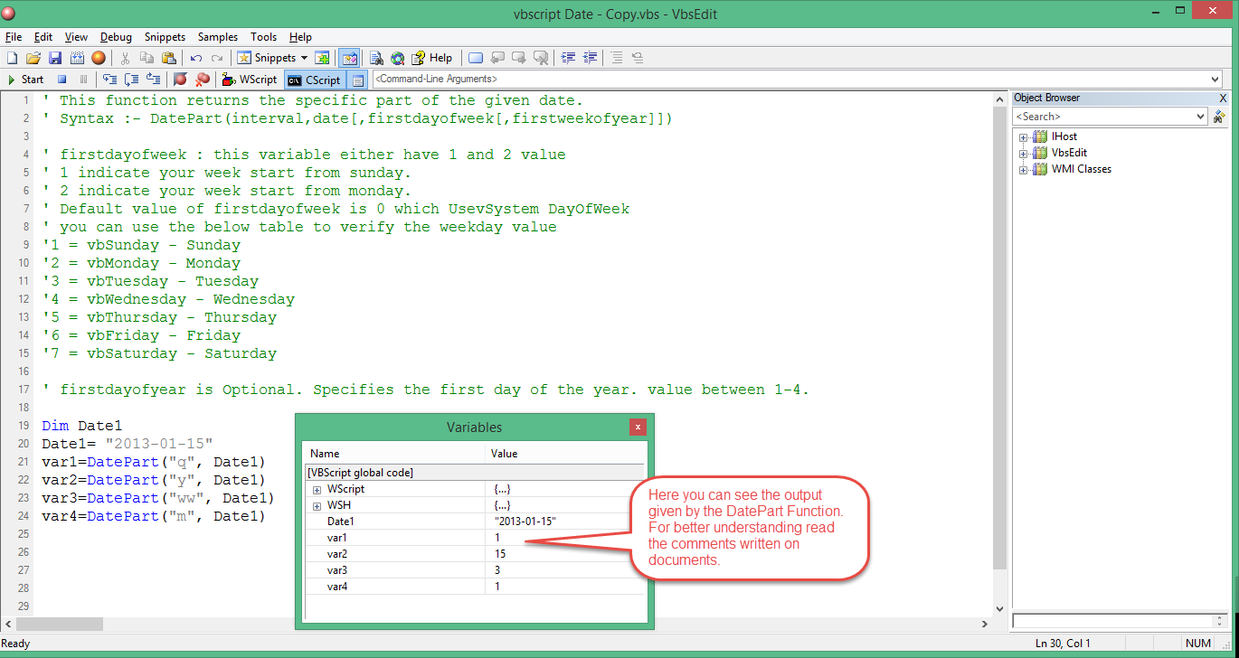 Tour : VBScript - Date And Time Functions Step 1  VBScript