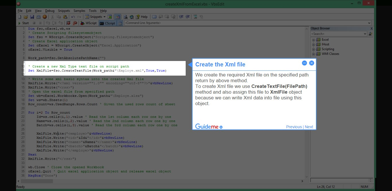 How to Create Xml file from Excel using vbs – Learn VBScript